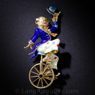 Mid-Century Gold and Enamel Clown Pin