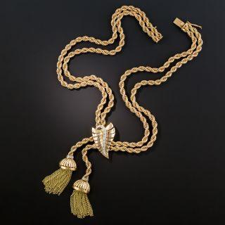 Mid-Century Gold Diamond Tassel Necklace