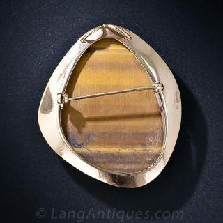 Mid-Century Gold Tiger's Eye Brooch
