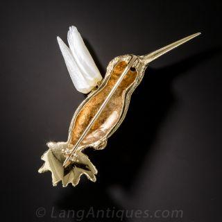 Mid-Century Hummingbird Brooch