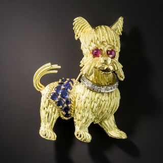 Mid-Century Jeweled Dog Pin - 1