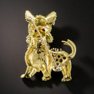 Mid-Century Jeweled Dog Pin