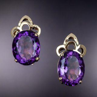 Mid-Century Large Amethyst Earrings - 1