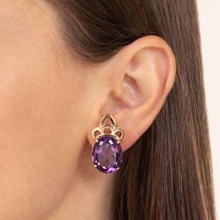 Mid-Century Large Amethyst Earrings