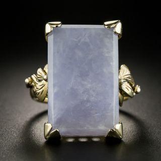 Mid-Century Large Natural Burmese Lavender Jade Ring - 2
