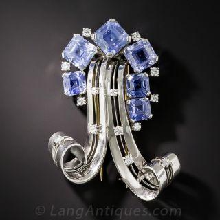 Mid-Century Modern Natural Sapphire, Platinum and Diamond Brooch - 1