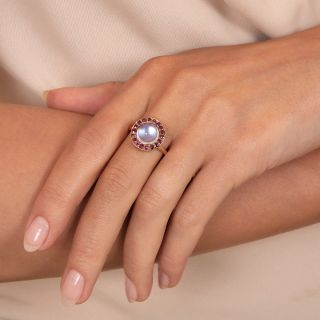 Mid-Century Moonstone And Ruby Halo Ring
