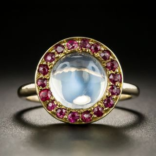Mid Century Moonstone with Ruby Halo Ring - 2