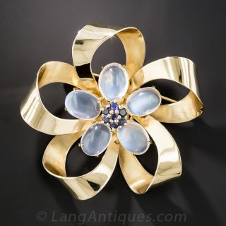 Mid-Century Moonstone and Sapphire Bow Brooch