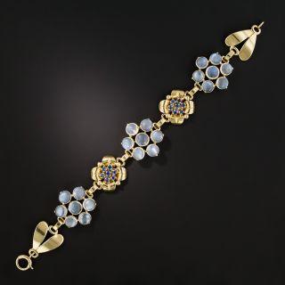 Mid-Century Moonstone and Sapphire Bracelet