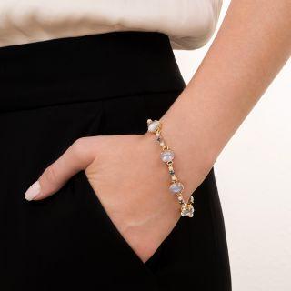 Mid-Century Moonstone, Sapphire and Pearl Bracelet