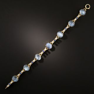 Art Deco Moonstone, Sapphire and Cultured Pearl Bracelet - 3