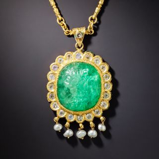 Mid-Century Mughal-Style Carved Green Beryl, Pearl and White Sapphire Necklace - 1