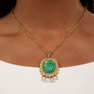 Mid-Century Mughal-Style Carved Green Beryl, Pearl and White Sapphire Necklace