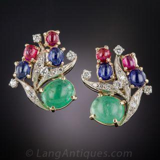 Mid-Century Multi-Color Gem and Diamond Earrings - 1