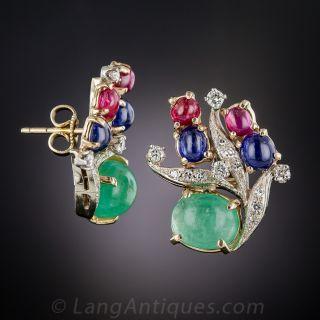 Mid-Century Multi-Color Gem and Diamond Earrings