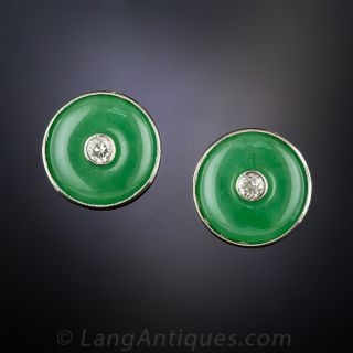 Mid-Century Natural Jade and Diamond Earrings - 1