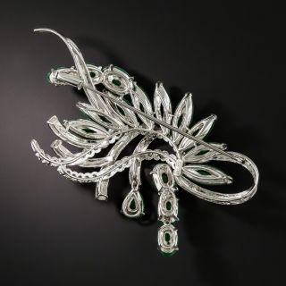 Mid-Century Natural Jade and Diamond Spray Brooch