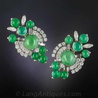 Mid-Century Natural Jade, Chrysoprase and Diamond Earrings - 1
