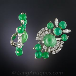Mid-Century Natural Jade, Chrysoprase and Diamond Earrings
