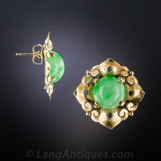 Mid-Century Natural Jade Earrings