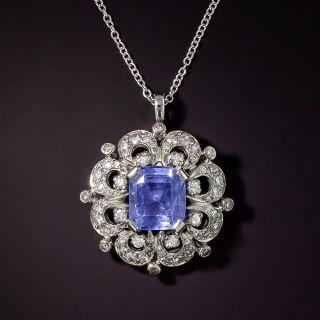 Mid-Century No-Heat 5.50 Carat Emerald-Cut Sapphire and Diamond Pendant - 0
