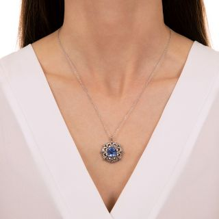 Mid-Century No-Heat 5.50 Carat Emerald-Cut Sapphire and Diamond Pendant