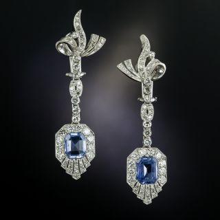 Mid-Century No-Heat Ceylon Sapphire and Diamond Drop Earrings - 3