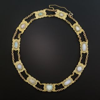 Mid-Century Opal and Rose-Cut Diamond Necklace