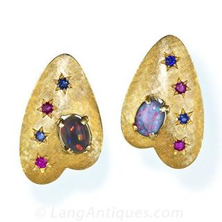 Mid-Century Opal, Ruby and Sapphire Earrings