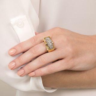 Mid-Century Pavé Diamond Ring
