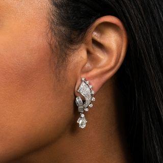 Mid-Century Pear Shape Diamond Dangle Earrings