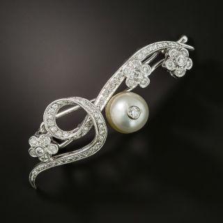 Mid-Century Pearl and Diamond Hair Barrette