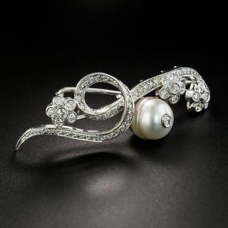 Mid-Century Pearl and Diamond Hair Barrette  - 4