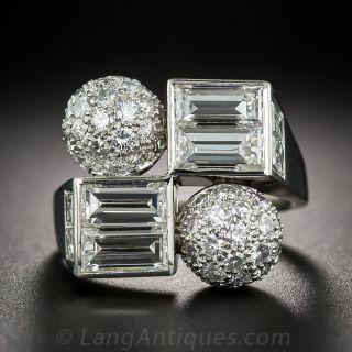 Mid-Century Platinum and Diamond Cocktail Ring - 1