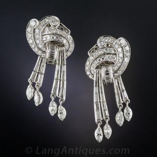 Mid-Century Platinum and Diamond Ear Drops - 2