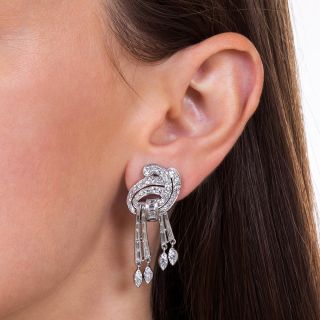 Mid-Century Platinum and Diamond Ear Drops