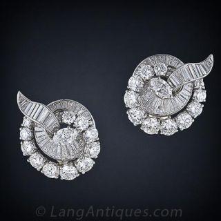 Mid-Century Diamond Ribbon Motif Earrings  - 1