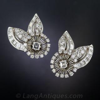 Mid-Century Platinum Diamond Earrings