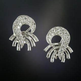 Mid-Century Platinum Diamond Swirl Earrings - 2
