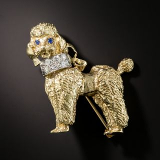Mid-Century Poodle with Diamond Collar Pin