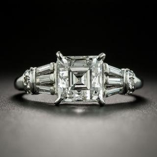 MId-Century Square Emerald Cut Diamond Engagement Ring - GIA 2.25 H SI1 - 2