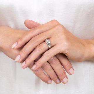 MId-Century Square Emerald Cut Diamond Engagement Ring - GIA 2.25 H SI1