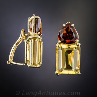 Mid-Century Style Golden and Madeira Citrine Earrings