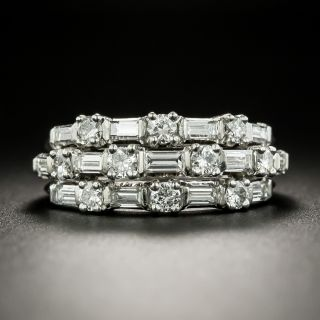 Mid-Century Triple Row Baguette and Round Diamond Band Ring - 3