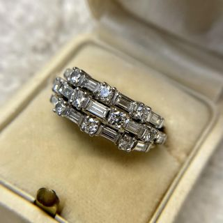 Mid-Century Triple Row Baguette and Round Diamond Band Ring