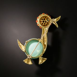 Mid-Century Turquoise and Coral Duck Pin