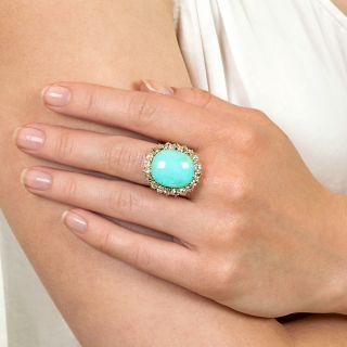 Mid-Century Turquoise and Diamond Ring
