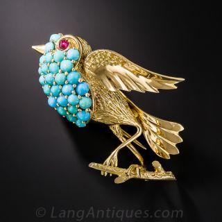 Mid-Century Turquoise Bird Brooch - 1