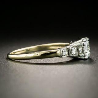 Mid-Century Two-Tone .58 Carat Diamond Engagement Ring - GIA